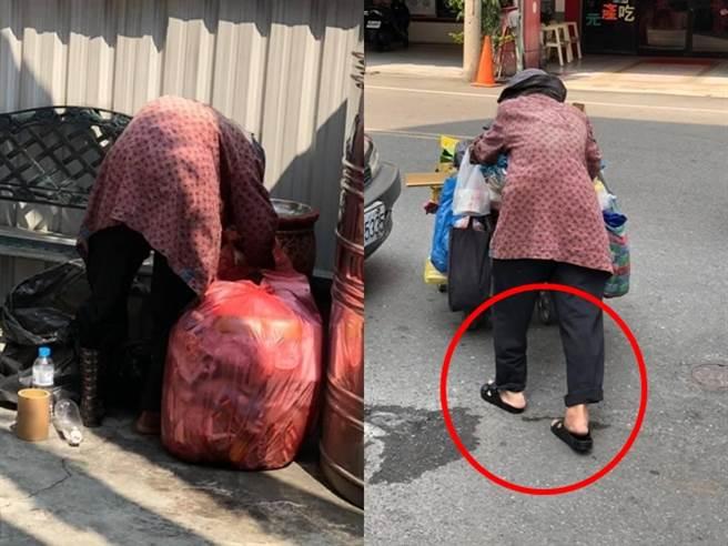 网友决定马上买双新鞋给对方,还送上1碗麵、饮料和几百元现金,阿嬷当下感动地笑着接受。(图/翻摄自脸书「爆废公社二馆」)