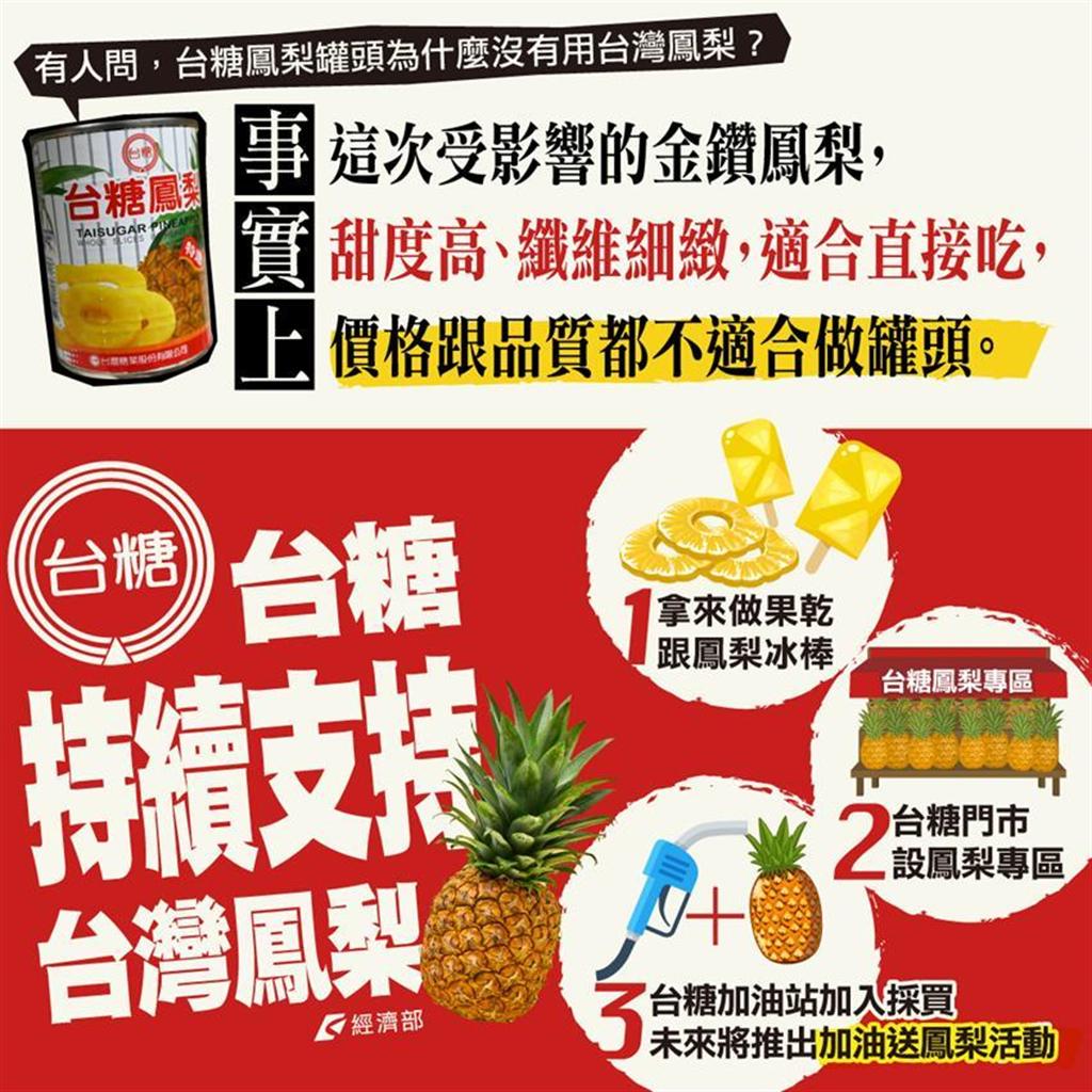 (經濟部臉書發文澄清台糖的鳳梨罐頭爆料。圖/摘自經濟部臉書)