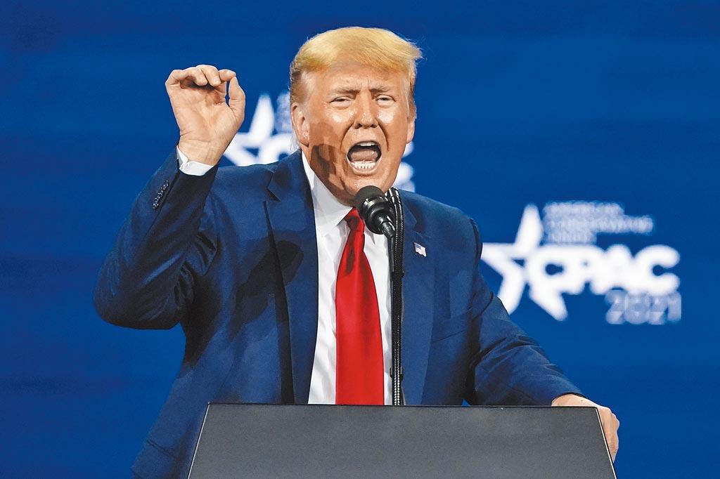 美国前总统川普下台后首次復出,并在演讲中暗示他将参加2024年总统选举。(美联社)