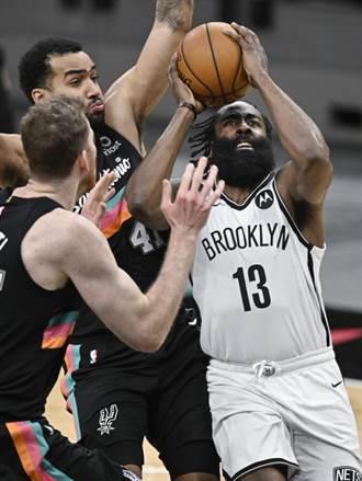 NBA》哈登超級大三元逞威 籃網終結客場對馬刺17連敗