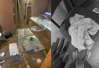 入住台中某商旅 男出浴一拉玻璃门全碎了 碎片狂喷满身血