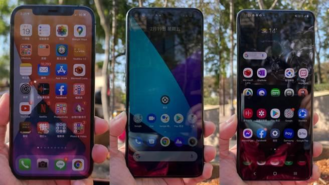 iPhone 12 Pro、realme X50 5G、三星Galaxy S20 Ultra是本月5G測速專題使用的5G手機。(黃慧雯攝)