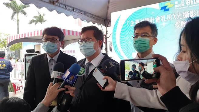 針對疫苗議題桃園市長鄭文燦相當有信心,桃醫院長徐永年也接受高端疫苗的測試。(姜霏攝)