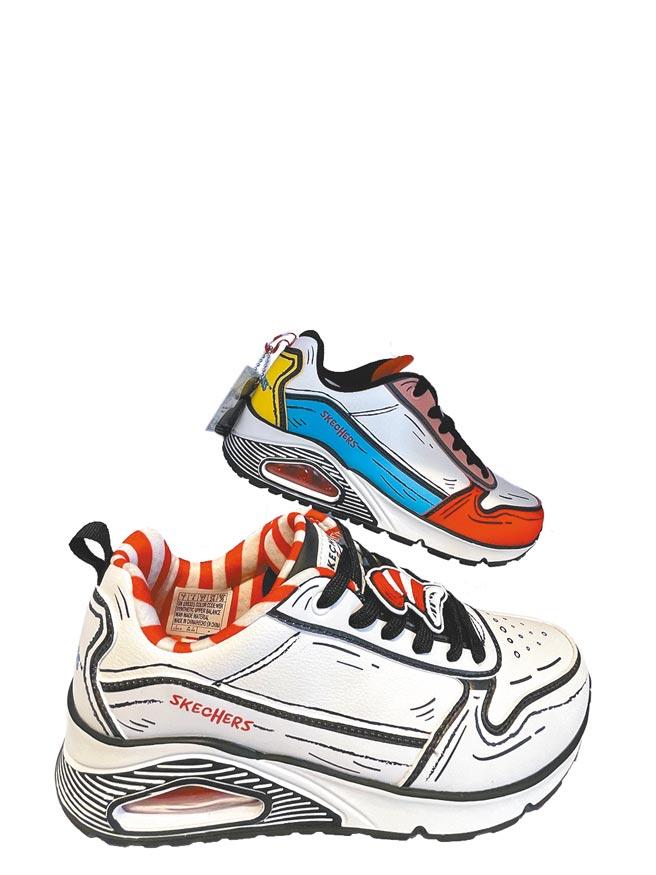新光三越台北南西店SKECHERS x Dr. SEUSS休閒鞋有2款,記憶枕頭鞋墊增加透氣,鞋底約增高4公分,每雙2990元。(郭家崴攝)