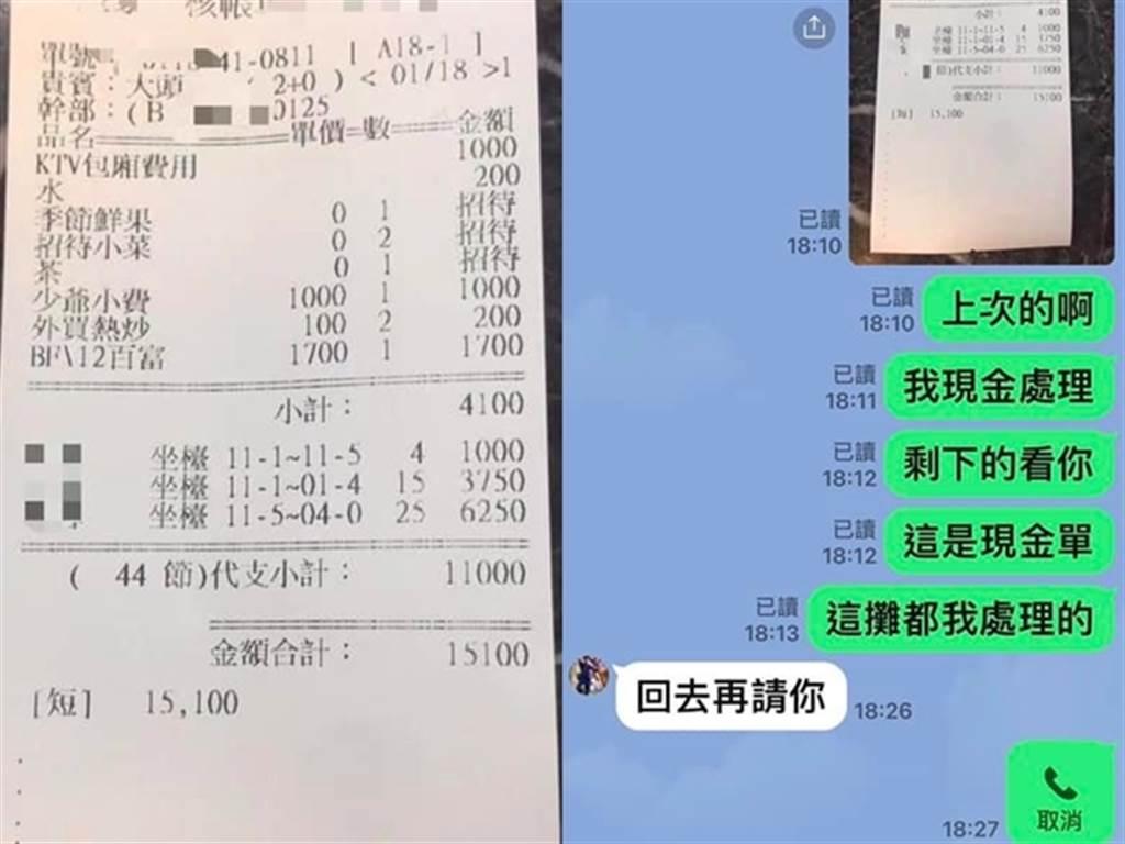 綠島1名林姓航警被爆料在休假期間與朋友到酒店享樂,事後還積欠朋友7500元,友人氣不過在臉書公開當天照片與收據。(圖/翻攝自臉書社團「爆怨公社」)