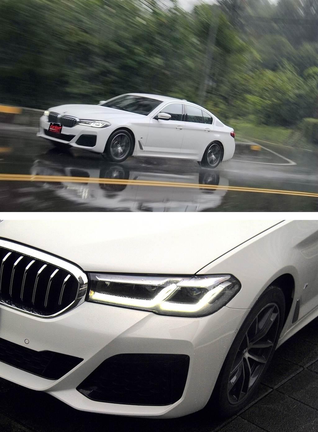 外觀設計以運動優雅和更簡約的設計為主題,有著寬大且前後緊緻短懸的設計,醒目的BMW腎形格柵看起來是維持原本的比例,沒有仿造七系列的大鼻孔,但仍然有稍微加大並採用了新的八角形輪廓,而新的頭燈和尾燈則明顯來自七系列的細條L型日行燈設計,再次使5系散發出不同的視覺衝擊。