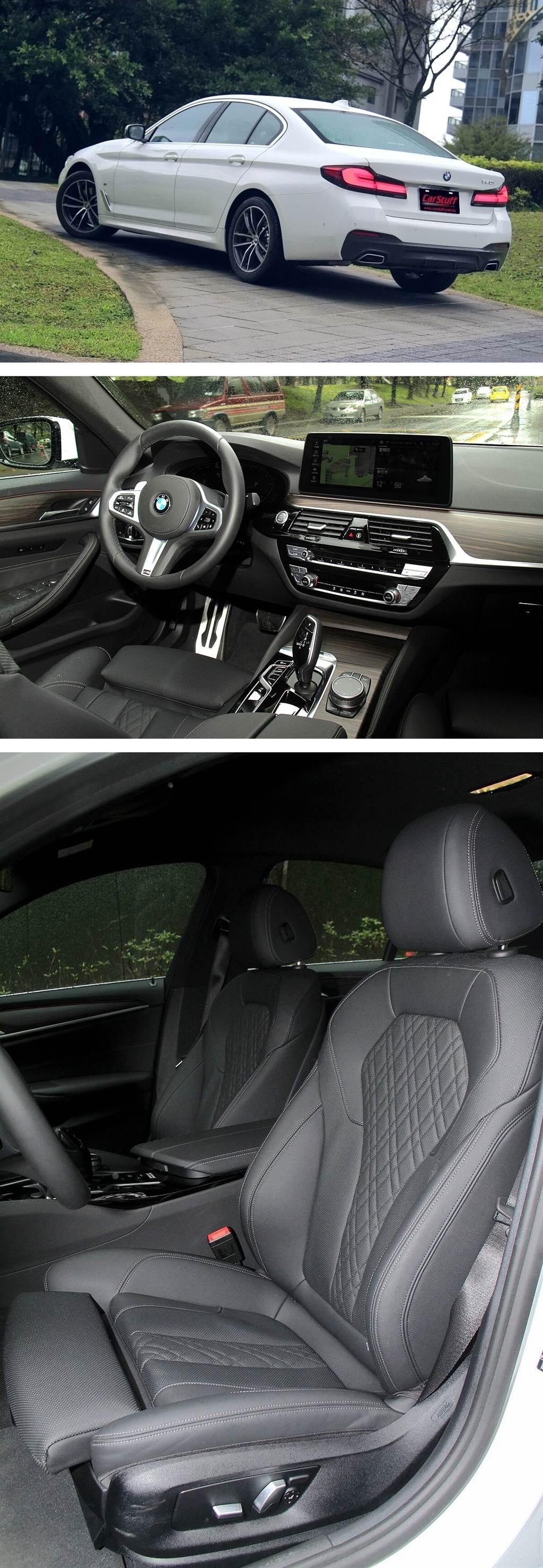 520i M Sport配置了新款Sensatec 2.0皮質包覆的專屬跑車式座椅,這是BMW第一次採用Sensatec合成皮革製作的跑車座椅。新版Sensatec 2.0除了皮革質感更加柔軟較一般合成皮革更接近真皮,以及側面包覆比標準款座椅加厚之外,還新增了透氣口以及菱格紋縫線的高質感設計。