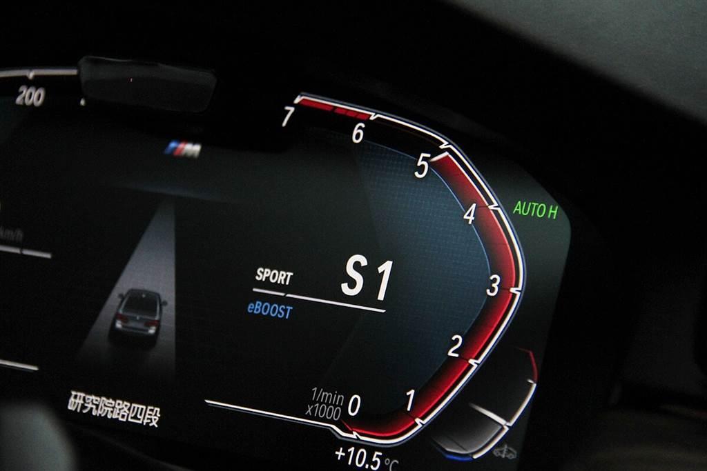 電動超級增壓功能(eBOOST)在全油門加速時會同時注入額外的動力,同時駕駛儀錶會出現eBOOST的字樣,以及跳出大面積藍色的顯眼指示。而這項輔助功能大多出現在中轉速過後,約從四千轉左右開啟可持續到接近六千轉。但其實在eBOOST啟動之前,48V啟動發電機仍然還是會依狀況稍作補助的(可在中央螢幕中顯示)。
