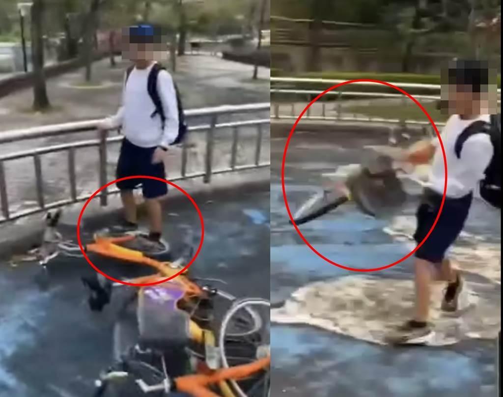 多位未成年孩童把微笑单车YouBike当成玩具,将车举起来在大力摔在地板上,甚至还站在车轮上不停地跳。(翻摄脸书社团《爆料公社二社》)