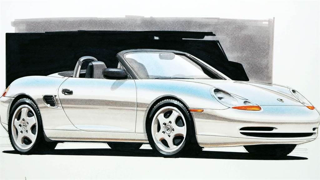 於1993年底特律車展正式向世人發表之「Boxster」概念車設計圖原稿。