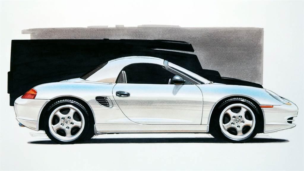 結合水平對臥引擎「boxer」第一音節和雙座小跑車「roadster」第二音節所命名的「Boxster」概念跑車。
