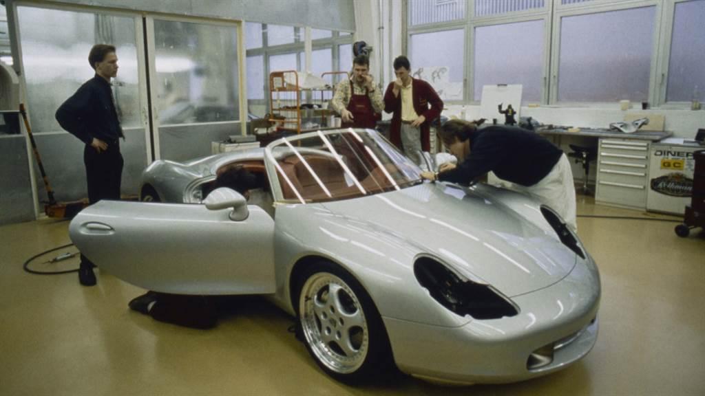 「Boxster」概念跑車原型於德國魏薩(Weissach)保時捷設計工作室。