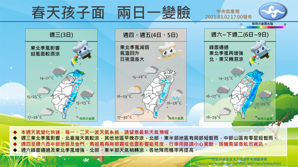 氣象局提醒,在周末假期間預計有道結構佳、水氣多的鋒面通過臺灣,屆時天氣將有明顯轉變。(氣象局提供)