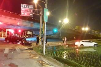 中市三車追撞 一個酒駕一個闖紅燈、騎士跟著撞
