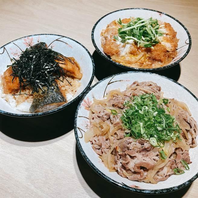 酱烧鲑鱼丼饭、酱烧牛肉丼饭及里肌猪排丼饭。(邱映慈摄)