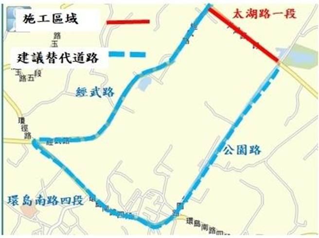 金门金湖镇太湖路进行2阶段改善工程,周边共有3条替代道路可供选择。(县府工务处提供)