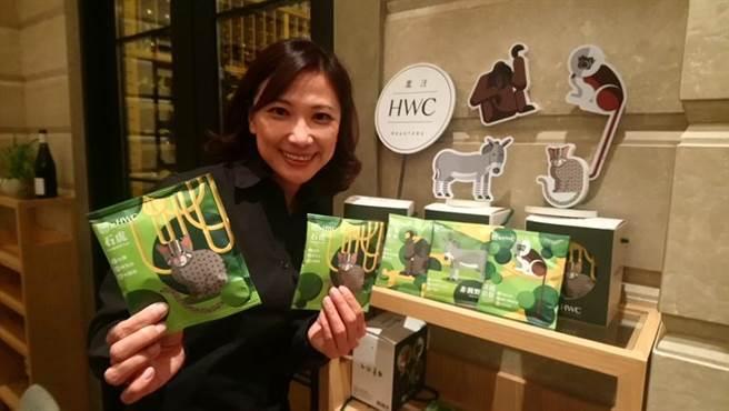林佩霓表示,黑沃咖啡與台北市立動物園聯合推出「黑沃動物地球村 瀕危動物濾掛禮盒」搶市。(圖/曾麗芳攝)