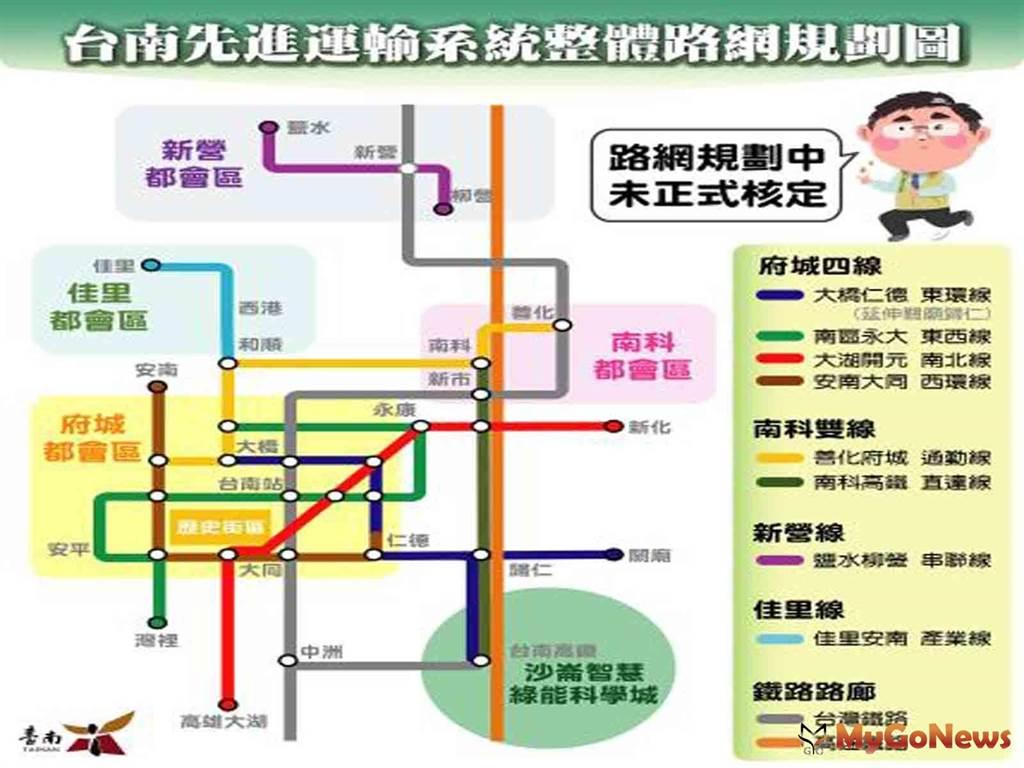 台南先進運輸系統整體路網後續仍將依城市發展調整修正(圖/台南市政府)