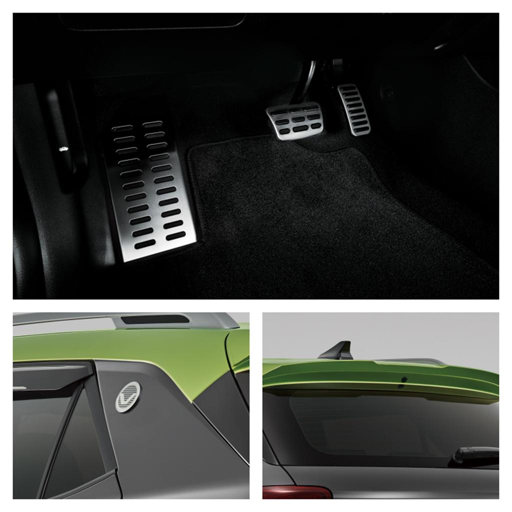 套件包含C柱專屬飾環、探險護板、後尾翼、金屬踏板及專屬晴雨窗等。