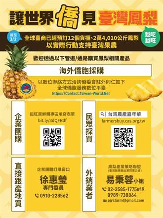 鳳梨無法進口美國 僑委會:鼓勵僑胞認購捐贈公益