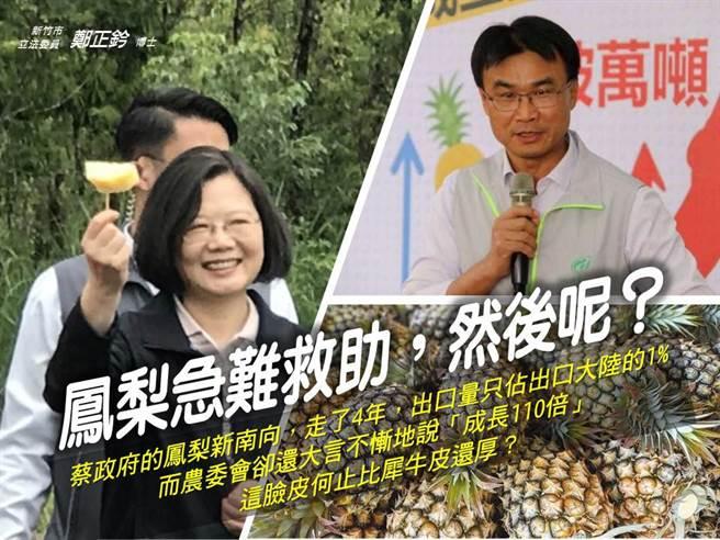 總統蔡英文(左)、農委會主委陳吉仲(右)。(圖/取自鄭正鈐臉書)