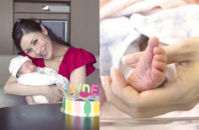 李嘉欣當時和剛出生的兒子合影。(圖/翻攝自李嘉欣Michele微博)