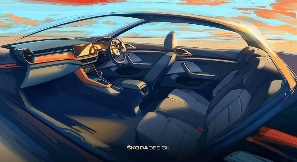 Skoda發佈Kushaq內裝的設計草圖