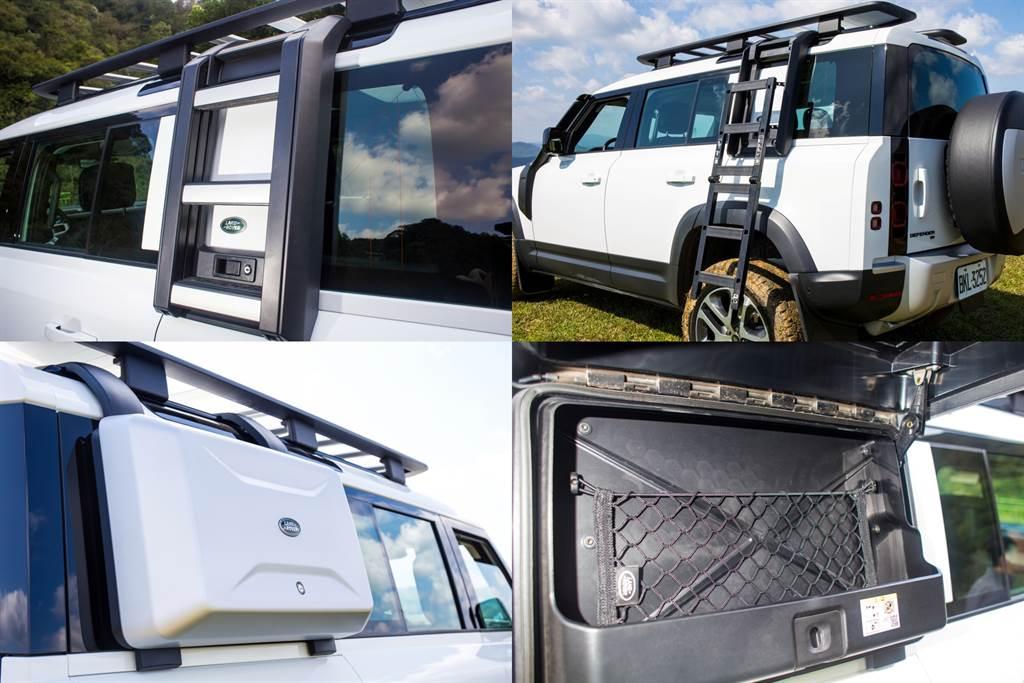 Explorer Package套件中包含多項配備,其中車側摺疊梯可方便使用車頂架,另一側的裝備架則可放些野外使用的物品,對戶外活動愛好者來說相當實用。(陳彥文攝)