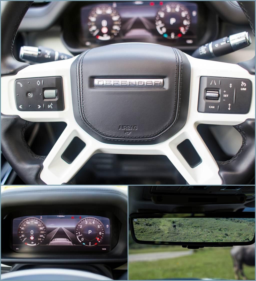 Defender提供時下新車幾乎必備的數位儀表,駕駛輔助配備也提供ACC、LKA等,特別的是連後視鏡都採用電子式,除了避免視野受到車體以及車內物品、乘客的阻擋外,也擁有比傳統鏡面後照鏡更加廣角的視野範圍。(陳彥文攝)