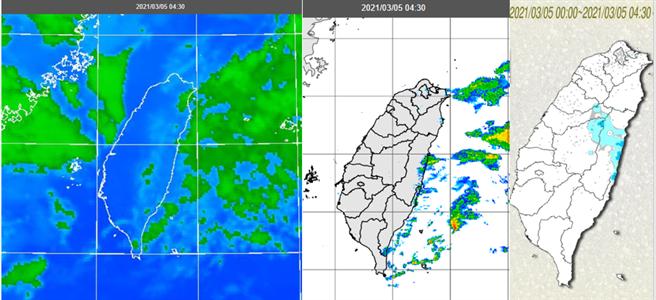 紅外線雲圖(左圖)顯示,中層雲剛脫離台灣上空,上游仍有一些。雷達回波合成圖(中圖)顯示,降水回波剛通過台灣,散佈在東方海面。累積雨量圖(右圖)顯示,降雨範圍擴大,但雨量不多。(圖擷自「三立準氣象· 老大洩天機」專欄)