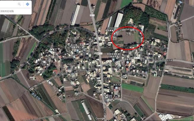 许姓老翁位在二林镇农地,依公告地价现值约每平方公尺1300元,根据土地实价交易行情,每分地至少在200万元至220万元之间。(摘自google map/谢琼云彰化传真)