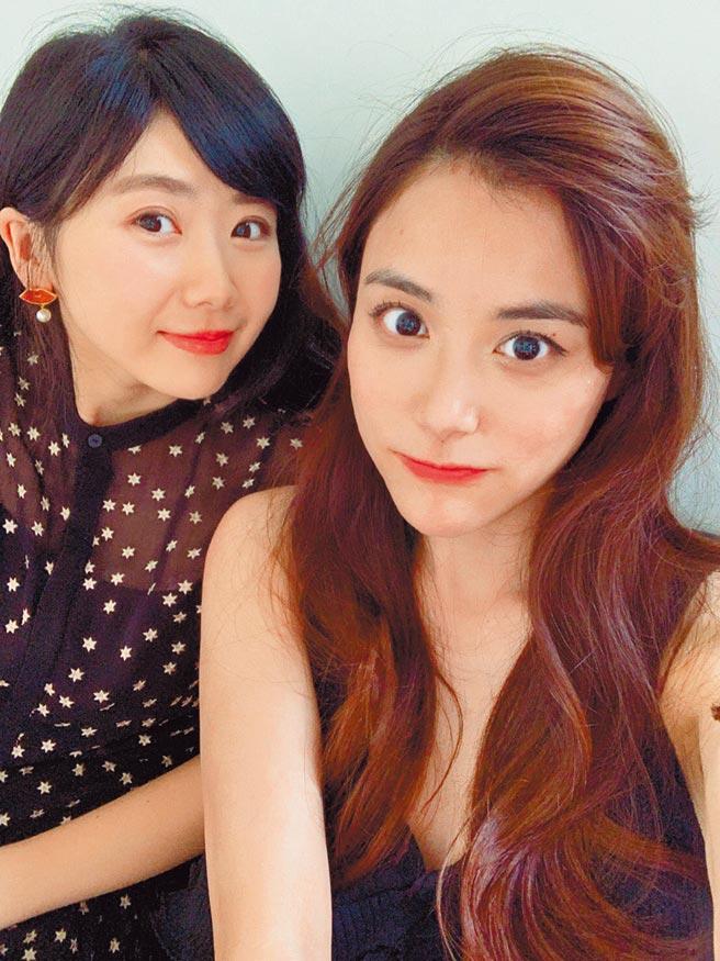 福原爱(左)与江宏杰的姊姊江恒亘曾晒出合照。(摘自推特)