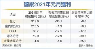 香港踩雷拖累 國銀1月海外獲利 縮水近四成