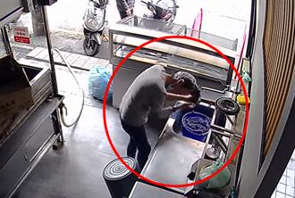 85秒片疯传 女子私闯店家当街洗头 洗碗精一抹猛搓泡沫