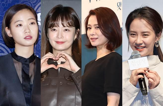 金高銀(左起)、全昭旻、金賢珠、宋智孝列2021韓國最美女演員第5到3名。(圖/達志影像)