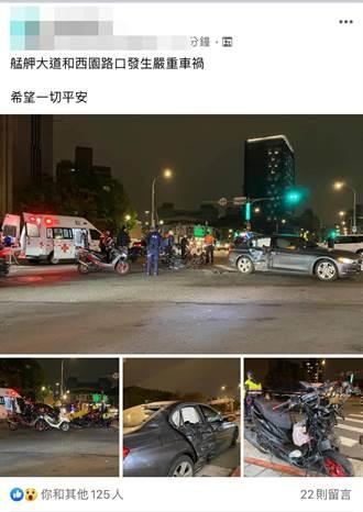 萬華艋舺大道機車攔腰撞BMW  車頭全毀2騎士彈飛送醫
