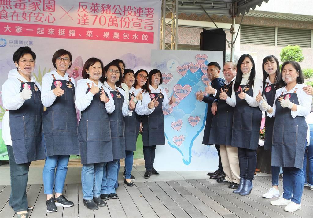 黨主席江啟臣(右五)與同黨立委、議員共同發表食安宣言。(陳怡誠攝)