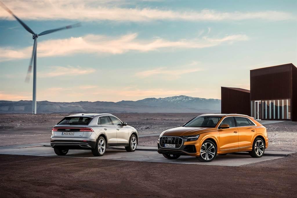 Audi Q8引進55 TFSI quattro S Line單一車型,與RS Q8共組旗艦跑旅陣容。