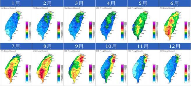 圖為台灣每個月的降雨變化。(翻攝自 鄭明典臉書)