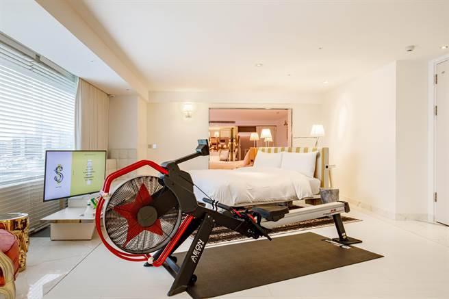 S Hotel防疫2.0住房專案,豪華客房、經典套房及卓越套房引進新設施,享有健身器材3選1,鼓勵住客運動。(S Hotel提供)