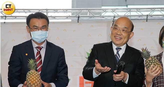 行政院長蘇貞昌對於鳳梨危機的回應「先軟後硬」,遭質疑是在玩「兩手策略」。(圖/黃耀徵攝)