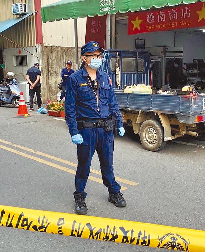 埔里鎮8日發生命案,埔里警方在現場拉起封鎖線。(民眾提供/廖志晃南投傳真)