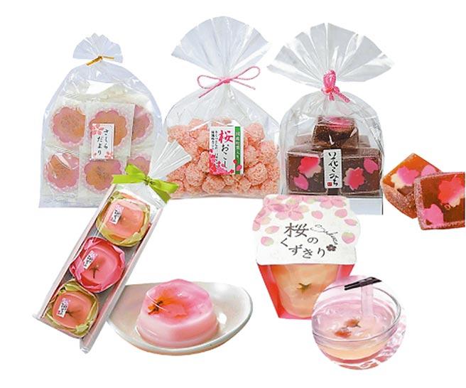 city'super復興店限定的日本賞櫻必吃的和菓子,包含櫻花羊羹、葛切、葛餅,1包280元至650元。(city'super提供)