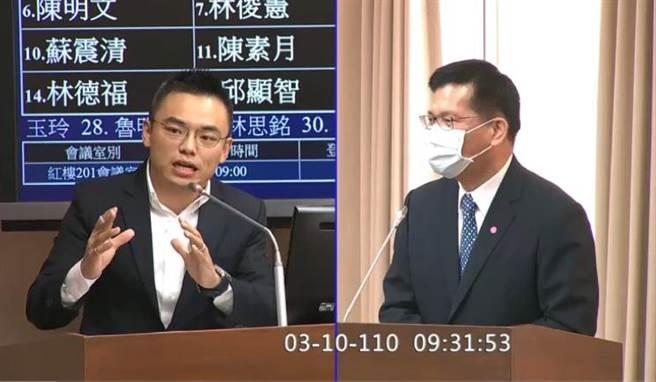 立委洪孟凱質詢交通部長林佳龍。(潘千詩翻攝)