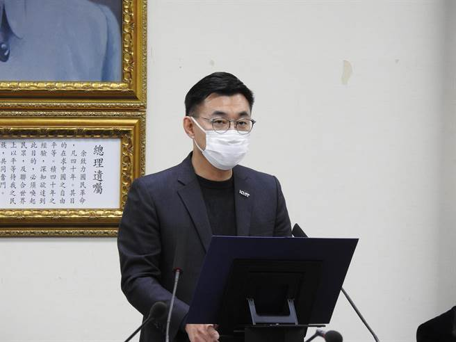 国民党主席江启臣下午在中常会发表谈话。(赵婉淳摄)