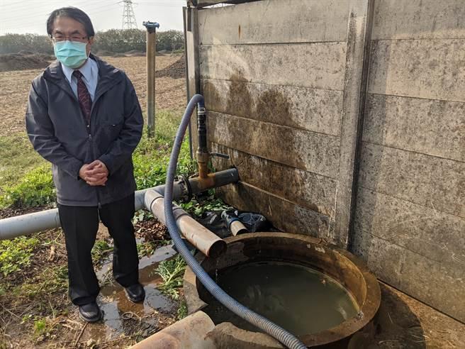 旱象未解,水情持續嚴峻,台南市轄內19座抗旱水井已經通過水質檢測及整備,可提供工業或營業等次級用水使用,也開放企業申購,市長黃偉哲10日下午到善化區視察水井整備狀況。(莊曜聰攝)