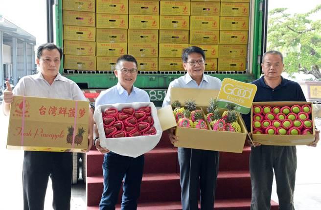 屏東鳳梨外銷新加坡封櫃啟航,其他果品也正拓展國外通路,避免把雞蛋放在同一籃子。(林和生攝)