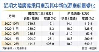 陸2月新能源車銷量增六倍