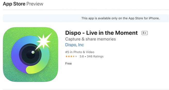 Dispo牢牢佔據AppStore攝影類排行榜前十名(圖/翻攝 App Store)