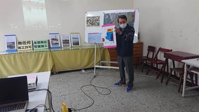 台南市環境保護聯盟理事長黃安調痛批政府任由廠商強行施工是「橫柴抬入灶」。(程炳璋攝)